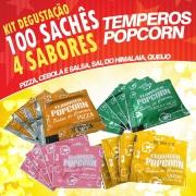 Temperos Popcorn 100 sachês. 25 Pizza, 25 Queijo, 25 Cebola e Salsa e 25 Sal do Himalaia
