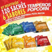 Temperos Popcorn 120 sachês. 20 Cebola e Salsa, 20 Manteiga, 20 Pizza, 20 Churrasco, 20 Queijo e 20 Bacon.