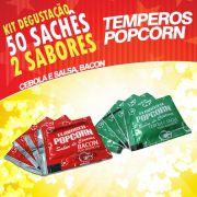 Temperos Popcorn 50 sachês. 25 Cebola e Salsa e 25 Bacon.