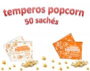 Temperos Popcorn 50 sachês. 25 Churrasco e 25 Pizza .