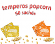 Temperos Popcorn 50 sachês. 25 Churrasco e 25 Queijo.