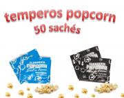 Temperos Popcorn 50 sachês. 25 Manteiga e 25 Sal Popcorn.