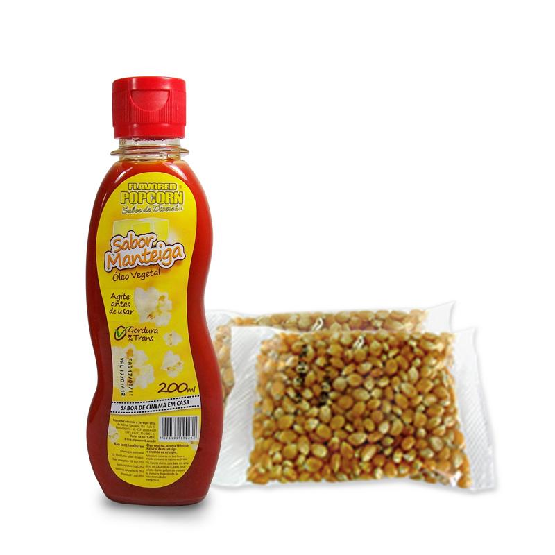 200g de Milho Popcorn + Óleo Vegetal sabor Manteiga