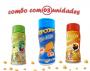 Combo Popcorn - 03 Sabores - Cheddar, Molho Mexicano e Pimenta e Limão