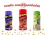 Combo Popcorn - 03 Sabores - Churrasco, Pimenta e Limão e Queijo Nacho
