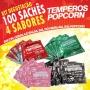 Temperos Popcorn 100 sachês. 25 Bacon, 25 Cebola e Salsa, 25 Sal do Himalaia e 25 Sal Popcorn