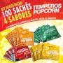 Temperos Popcorn 100 sachês. 25 Churrasco, 25 Bacon, 25 Queijo e 25 Cebola e Salsa