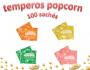 Temperos Popcorn 100 sachês. 25 Churrasco, 25 Queijo, 25 Cebola e Salsa e 25 Sal do Himalaia