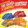 Temperos Popcorn 100 sachês. 25 Manteiga, 25 Churrasco, 25 Pizza e 25 Bacon.