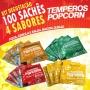 Temperos Popcorn 100 sachês. 25 Pizza, 25 Bacon, 25 Queijo e 25 Cebola e Salsa