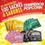 Temperos Popcorn 100 sachês. 25 Queijo, 25 Cebola e Salsa, 25 Sal do Himalaia e 25 Sal Popcorn