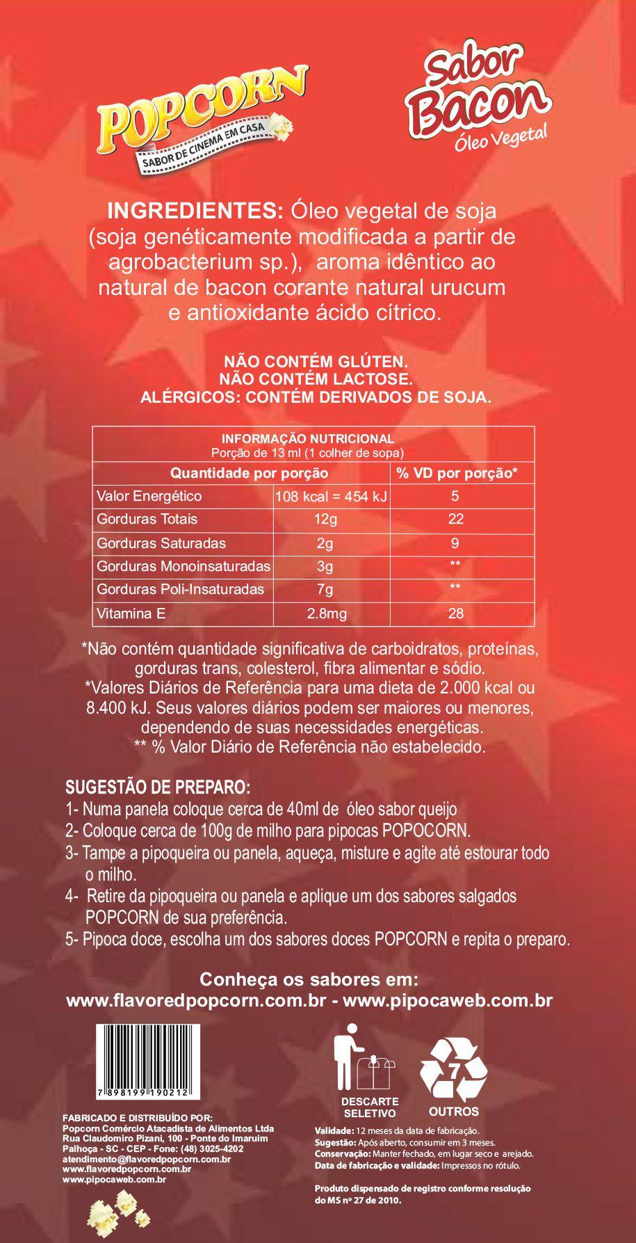 BACON DE CINEMA - ÓLEO VEGETAL SABOR BACON - 03 FRASCOS DE 200ML