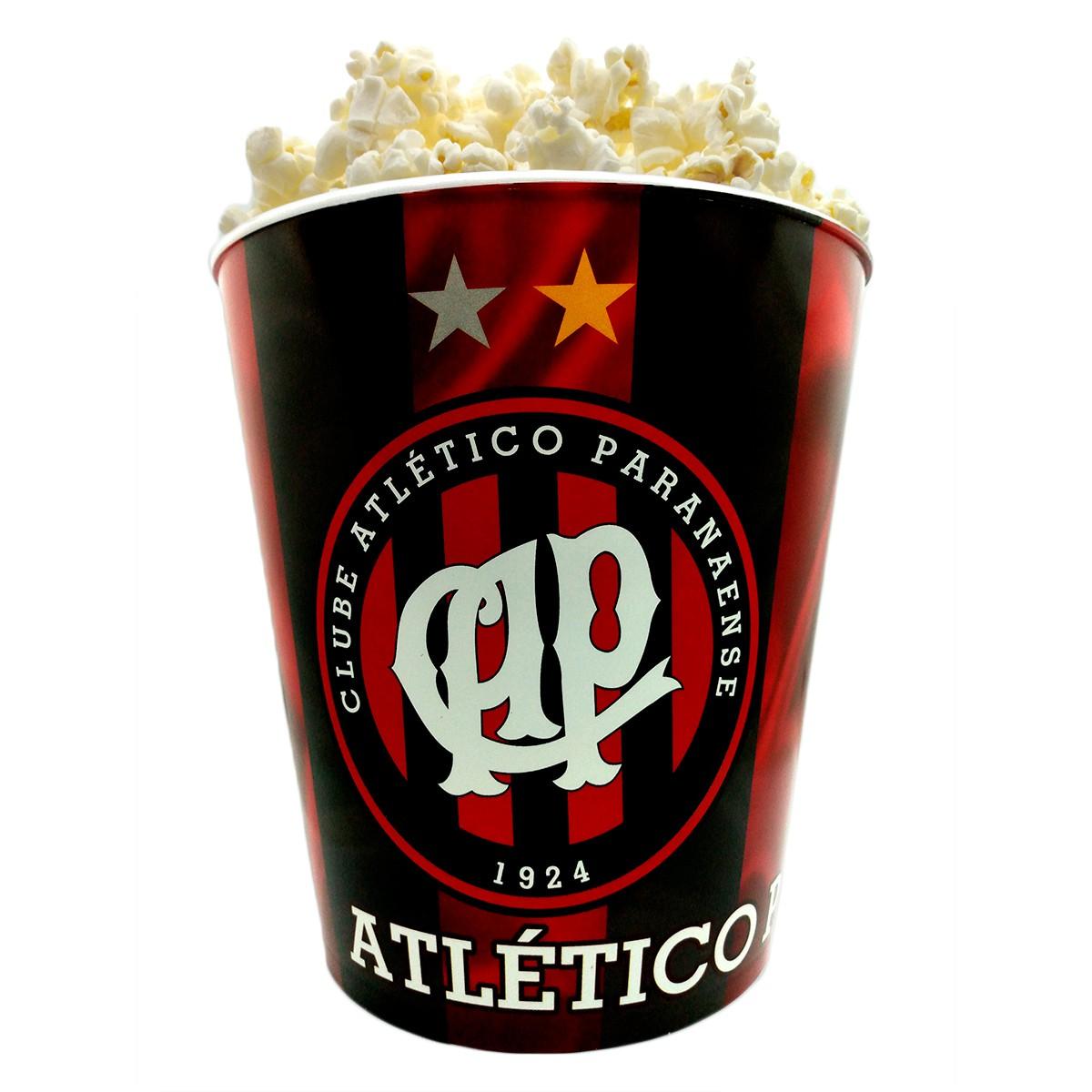 Balde de pipoca do Atlético Paranaense + 3 pipocas de micro-ondas
