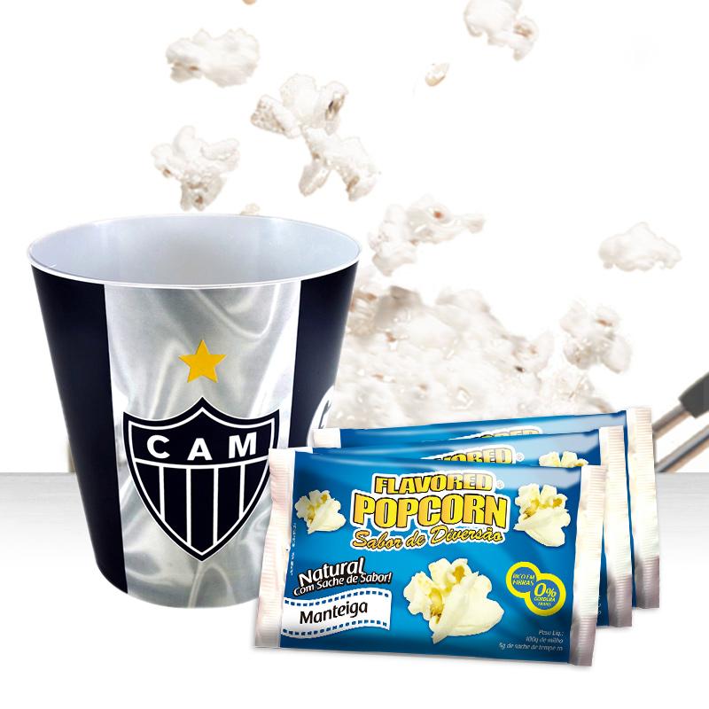 Balde p/ pipoca do Atlético Mineiro + 3 pipocas de micro-ondas