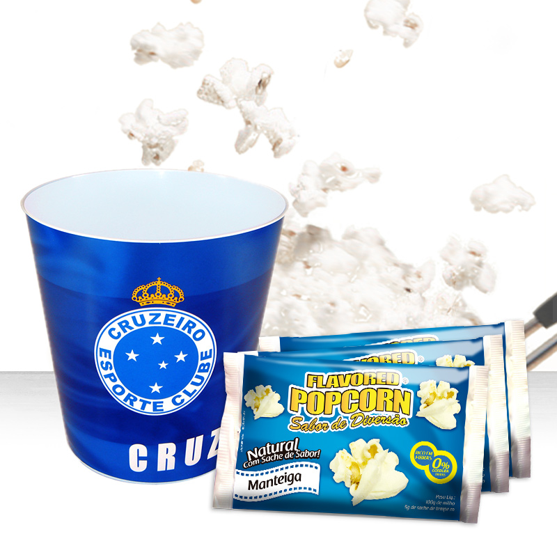 Balde p/ pipoca do Cruzeiro + 3 pipocas de micro-ondas sabor Manteiga