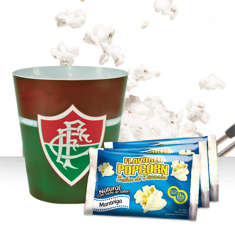 Balde de pipoca do Fluminense + 3 pipocas de micro-ondas