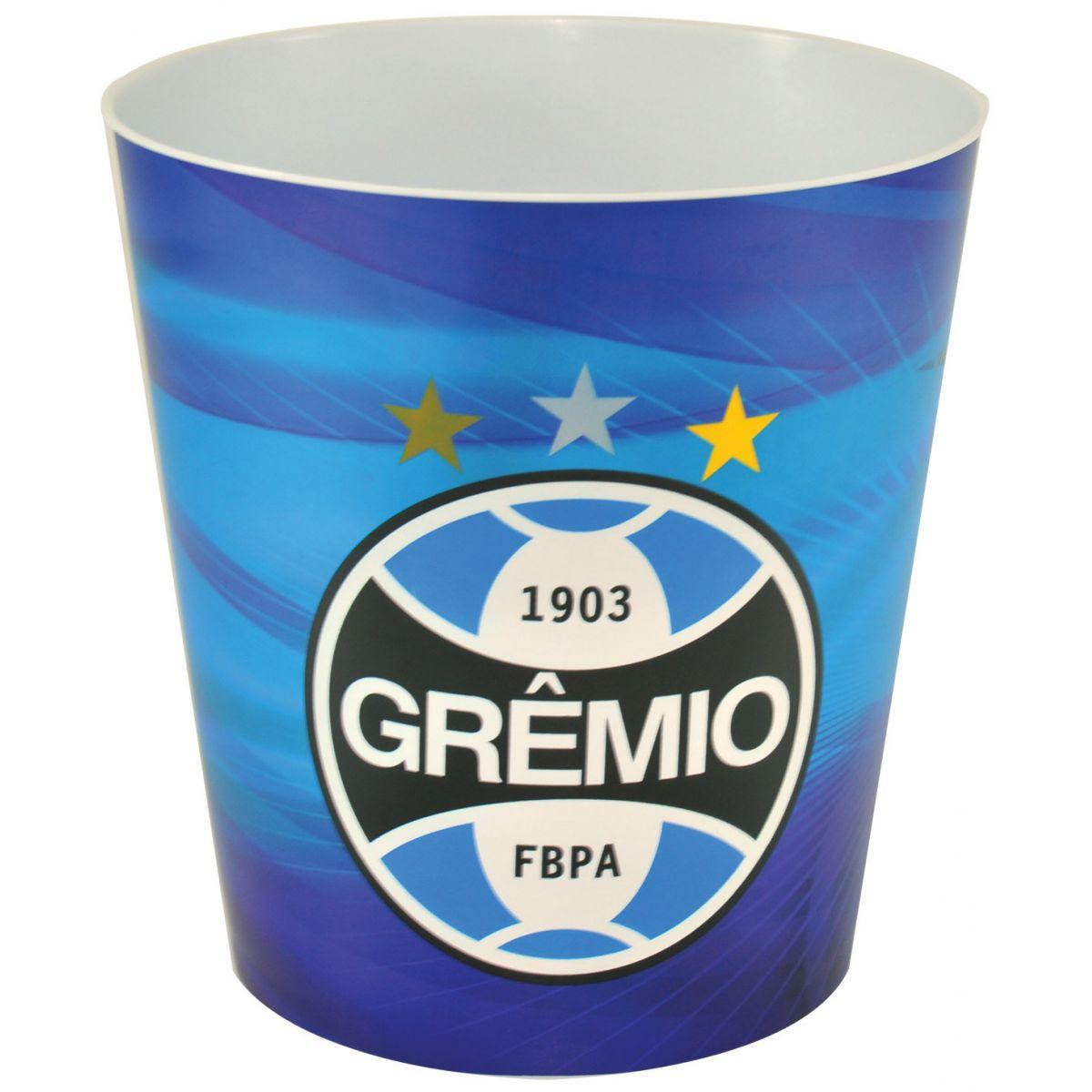 Balde p/ pipoca do Grêmio + 3 pipocas de micro-ondas
