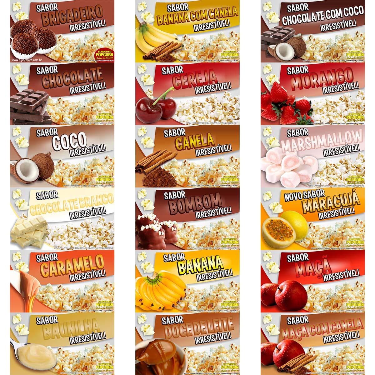 Sabores e Caramelos p/ Pipoca Doce - 18 sabores - Pacote c/ 5kg - Preço de Atacado