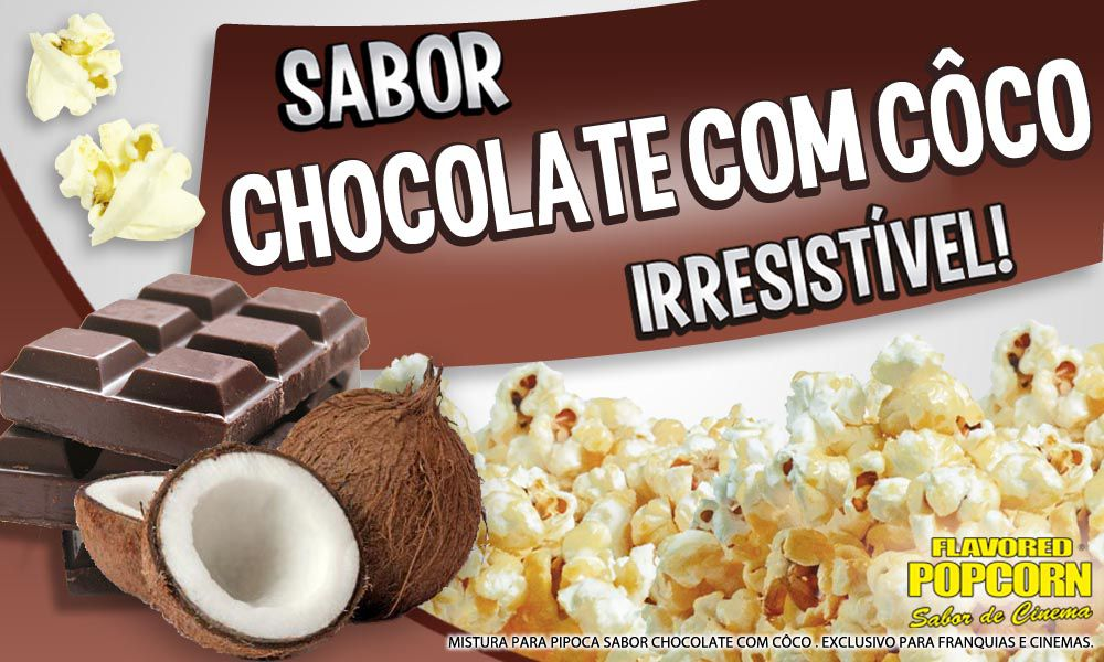 Caramelos p/ Pipoqueiras de Cinema - Chocolate c/ Côco - Pct 1kg