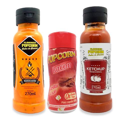 COMBO 2 Molhos 1 Tempero Popcorn - Molhos Churrasco com Pimenta e Ketchup - Tempero Bacon