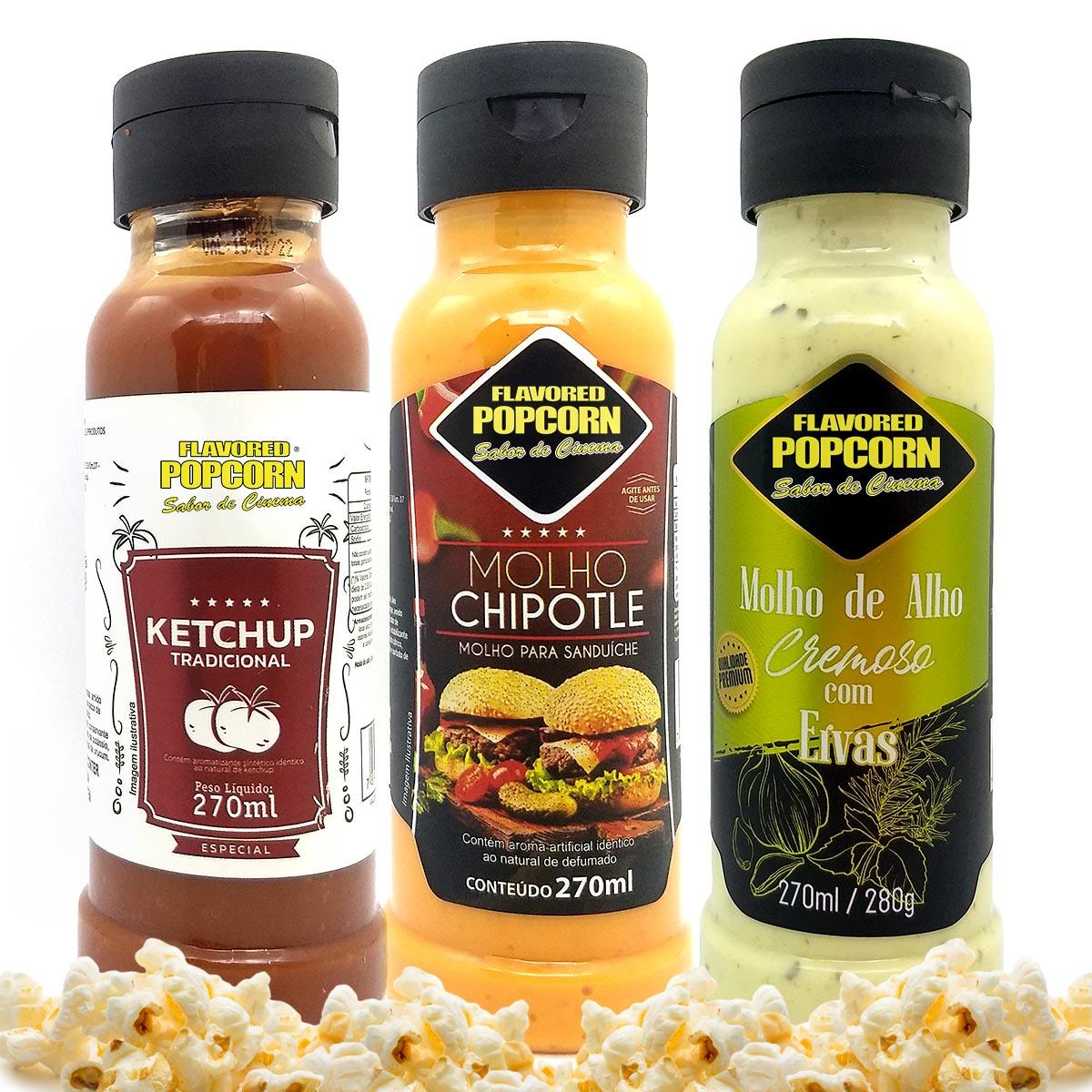 Combo 3 Sabores de Molhos: Chipotle, Alho Cremoso com Ervas e Ketchup