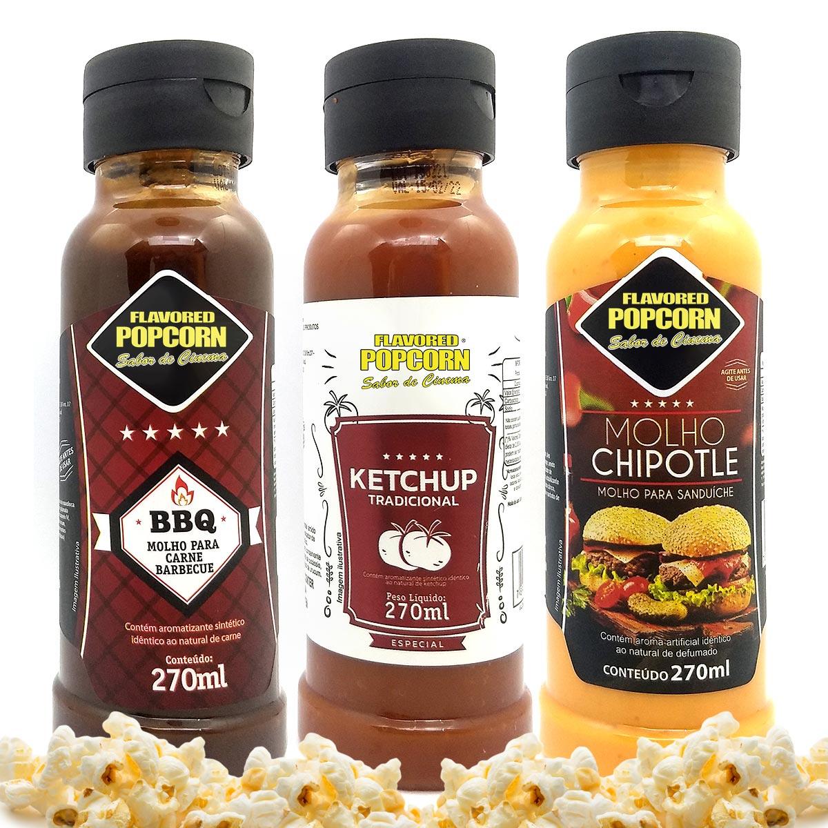 Combo 3 Sabores de Molhos: Chipotle, Barbecue e Ketchup