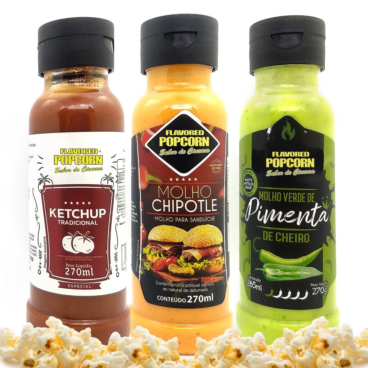 Combo 3 Sabores de Molhos: Chipotle, Ketchup e Molho Verde de Pimenta de Cheiro