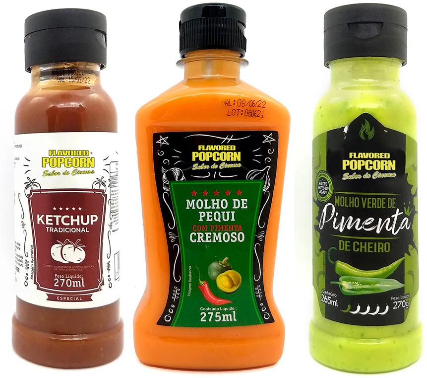 Combo 3 Sabores de Molhos: Ketchup, Molho Verde de Pimenta de Cheiro e Pequi com Pimenta Cremoso
