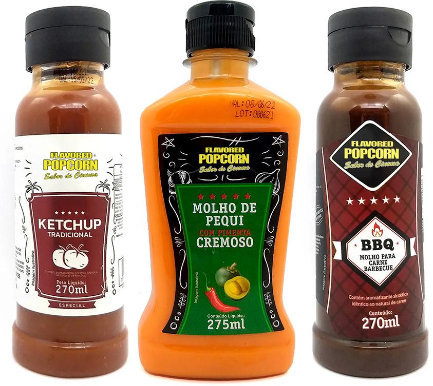 Combo 3 Sabores de Molhos: Ketchup, Pequi com Pimenta Cremoso e Barbecue