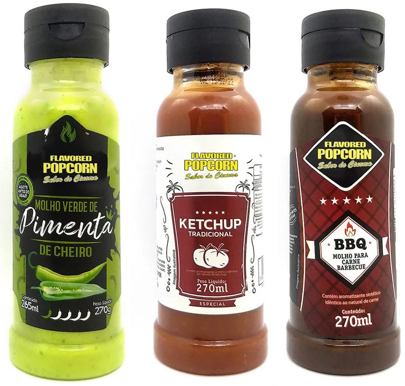 Combo 3 Sabores de Molhos: Molho Verde de Pimenta de Cheiro, Barbecue e Ketchup