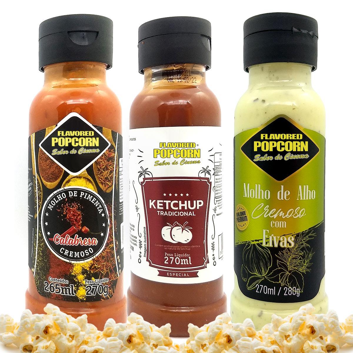 Combo 3 Sabores de Molhos: Pimenta Calabresa, Alho Cremoso com Ervas e Ketchup