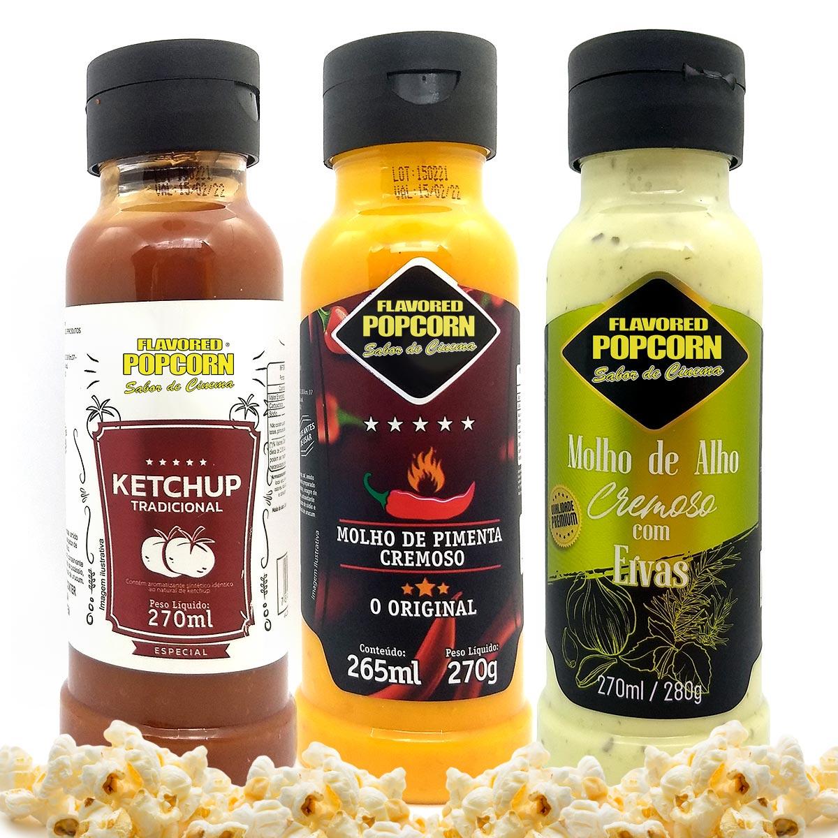 Combo 3 Sabores de Molhos: Pimenta Cremoso, Alho Cremoso com Ervas e Ketchup