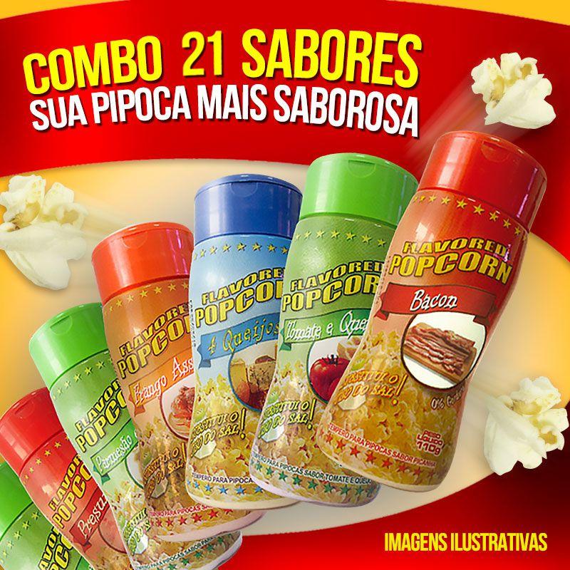 Combo Popcorn Hollywood - 21 Temperos p/ Pipoca - CHURRASCO, BACON, CALABRESA, PRESUNTO, PICANHA,  MANTEIGA, QUEIJO, 4 QUEIJOS, CHEDDAR, PARMESÃO, QUEIJO NACHO, CEBOLA E SALSA
