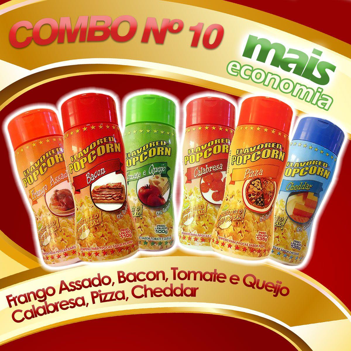 Combo nº 10 - Leve 06 Temperos - Pague Menos - Pizza, Cheddar, Calabresa, Bacon, Tomate e Queijo, Frango Assado