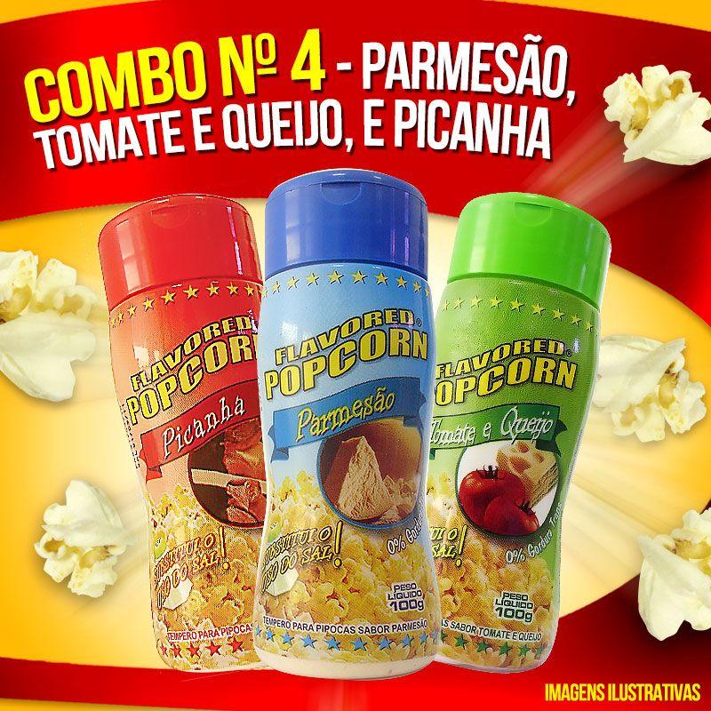 Combo nº13 - Leve 09 Temperos - Mais Economia - Parmesão, Picanha, Tomate e queijo, Quatro queijos, Presunto, Parmesão e Alho, Pimenta e limão, Molho mexicano, Sal Popcorn