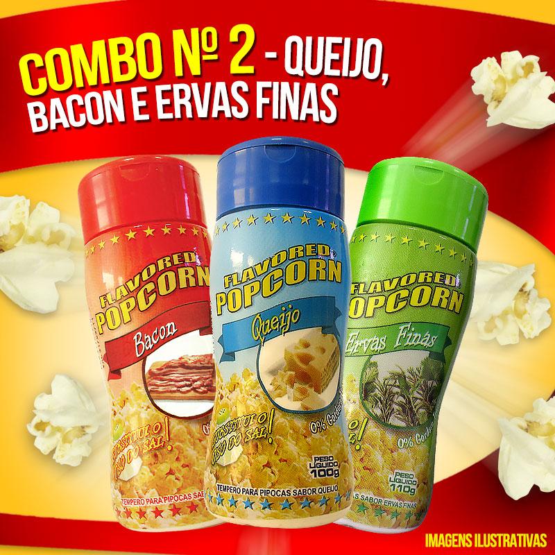 Combo Temperos Popcorn nº 2 - Queijo, Ervas Finas e Bacon