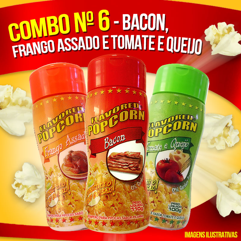 Combo nº 6 - Bacon, Tomate e Queijo, Frango Assado (Mais 100g milho de pipoca)