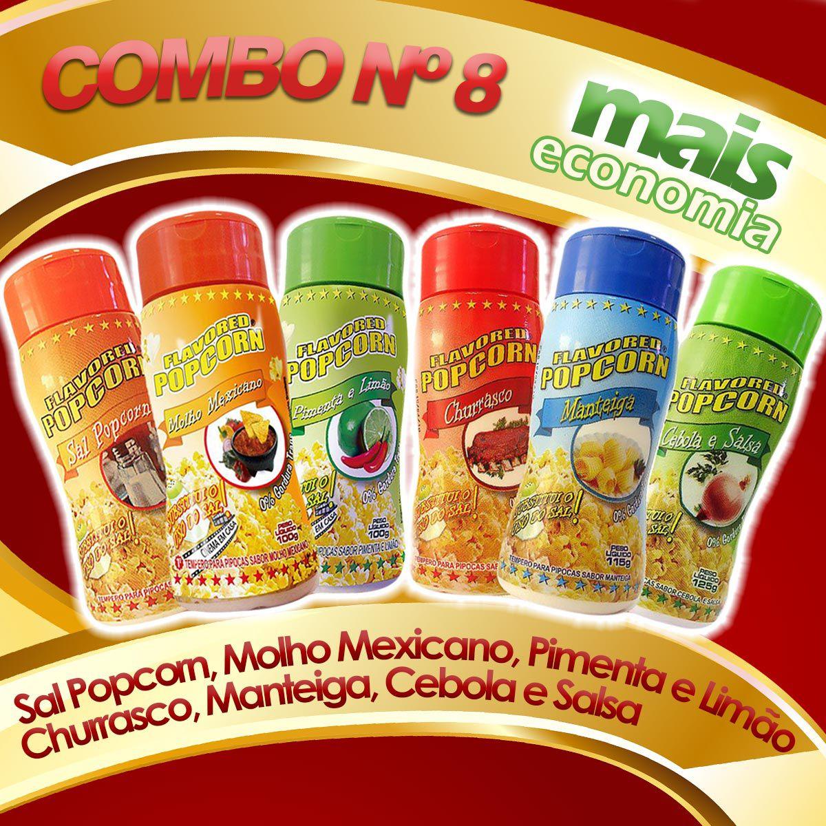 Combo Popcorn nº8 - 06 Temperos - Pague Menos - Churrasco, cebola e Salsa, Manteiga, Sal Popcorn, Molho mexicano, Pimenta e limão