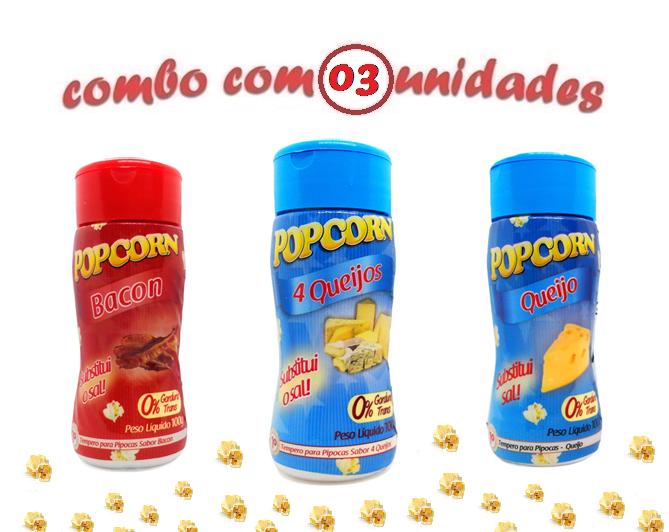 Combo Popcorn - 03 Sabores - 4 Queijos, Bacon e Queijo