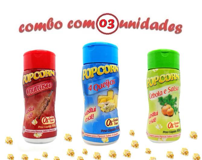 Combo Popcorn - 03 Sabores - 4 Queijos, Churrasco e Cebola e Salsa