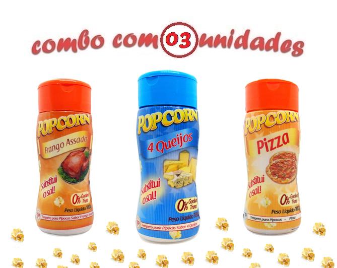 Combo Popcorn - 03 Sabores - 4 Queijos, Frango Assado e Pizza
