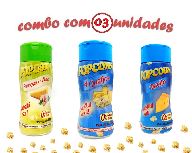 Combo Popcorn - 03 Sabores - 4 Queijos, Queijo e Parmesão e Alho