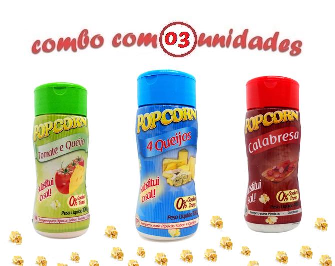 Combo Popcorn - 03 Sabores - 4 Queijos, Tomate e Queijo e Calabresa