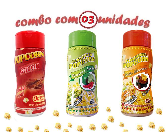 Combo Popcorn - 03 Sabores - Bacon, Molho Mexicano e Pimenta e Limão