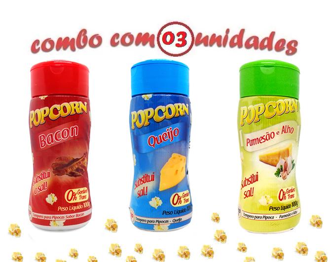 Combo Popcorn - 03 Sabores - Bacon, Queijo e Parmesão e Alho