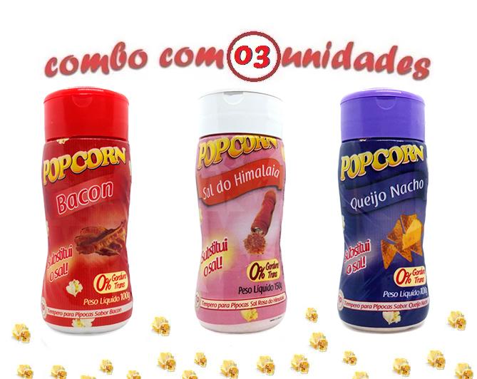 Combo Popcorn - 03 Sabores - Bacon, Qu...