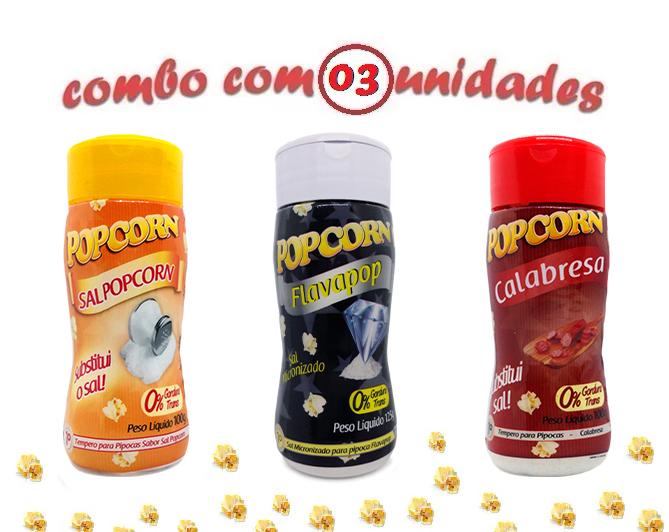 Combo Popcorn - 03 Sabores - Calabresa...