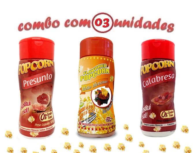 Combo Popcorn - 03 Sabores - Calabresa, Presunto e Molho Mexicano