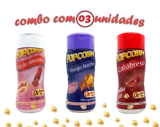 Combo Popcorn - 03 Sabores - Calabresa, Queijo Nacho e Sal do Himalaia