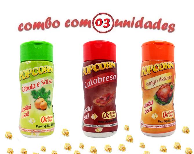 Combo Popcorn - 03 Sabores - Cebola e Salsa, Calabresa e Frango Assado